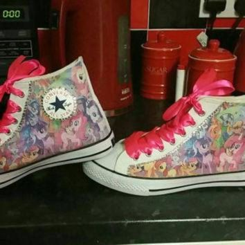 DCCKHD9 My Little Pony Converse All Star Hi Tops Chucks Bling Sneakers Pink Purple Ribbon Lace