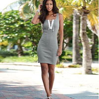 Gray Front Lace Up Sleeveless Mini Dress