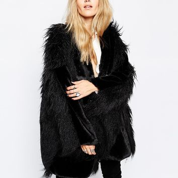 Story Of Lola Faux Fur Cape Coat With Mixed Shaggy Fur