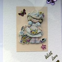 Pansey Posey-  Hand-Crafted 3D Decoupage Card - With Love (1653)
