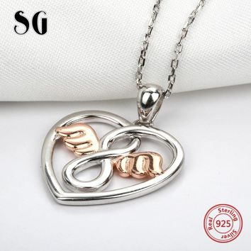 925 sterling silver love heart shape angel with gold color wing chain necklace&pendant diy fashion jewelry making for women gift