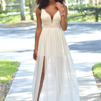 Lace Deep V Sexy Mosaic Chiffon Prom Dress One Piece Dress [4919734468]
