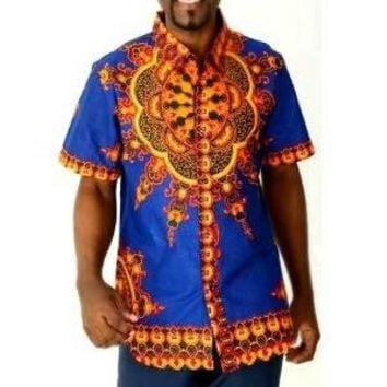 BLUE AFRICAN DASHIKI MEN'S SHIRT