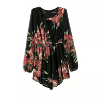 female chiffon Jumpsuits summer style overall women flower print long-sleeve Rompers V-neck ethnic one piece coveralls