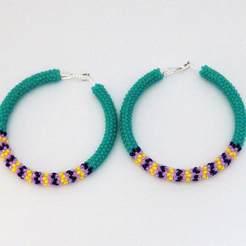 Beaded Hoop Earrings - Beaded Stud Earrings - Womens Hoop Earrings - Boho Hoop Earrings - Festive Hoop Earrings - Beaded Hoop Stud Earrings