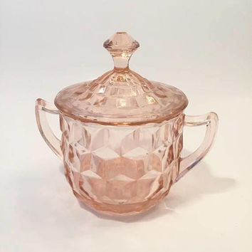 Pink Depression Glass Sugar Bowl with Lid, Jeannette Cube, Pink Cubist Glass