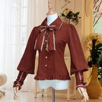 6 Colors Women Steampunk Larp Costume Formal Brown Blouse Chiffon Bow Lantern Sleeves Button Up Lacing Back Top For Ladies