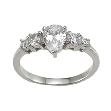 Plutus Brands 925 Sterling Silver Rhodium Finish CZ Pear Shape Prong Engagement Ring 1 Carat weight- Size 6