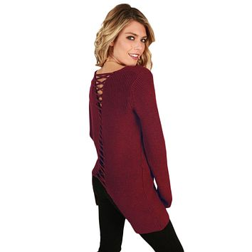 Red Never Look Back Lace Up Sweater