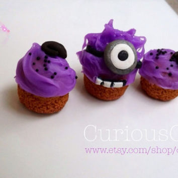 Purple Minion inspired mini cupcakes - wearable art - handcrafted  miniature sweets set