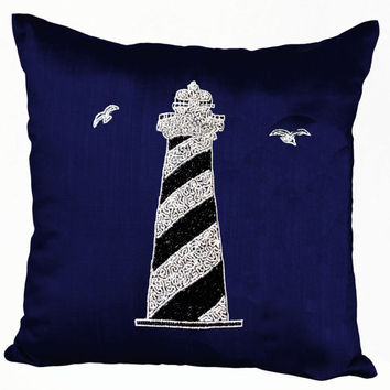 Decorative pillow with silver light house on navy blue silk in beads sequin - Nautical pillows - Embroidered Pillow- 16X16-Couch pillows