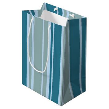 Blue Greenish Aqua Stripes Pattern Gift Bag
