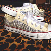 Full Rhinestone Converse With Ribbon Laces