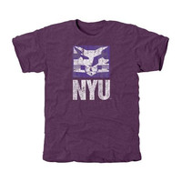 NYU Violets Distressed Primary Tri-Blend T-Shirt - Purple