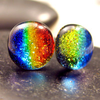 Dichroic Warm Red to Blue Rainbow Fused Glass Post Earrings