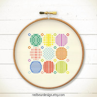 Modern Geometric Cross stitch pattern PDF - Play with Circles n Dots  -Stitch Instant download- Abstract circle pattern Japanese home decor