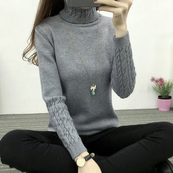 Sweater Women 2016 Autumn Winter Chunky Cable Full Sleeve High Neck Jumper Pullovers Fashion New Warm Thicken Turtleneck Sweater