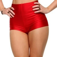 Sale-red Shiny Hot Shorts