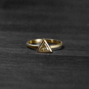 Fancy Yellow Diamond Ring >>> Triangle Ring, Trillion Cut Diamond Ring, Minimalist Ring, Yellow Gold Diamond Ring, Handmade Jewelry