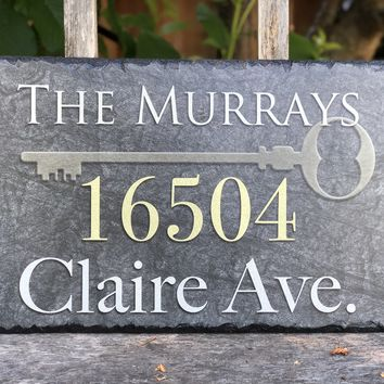 Customizable Slate Home Address House Sign - Handmade and Personalized Plaque