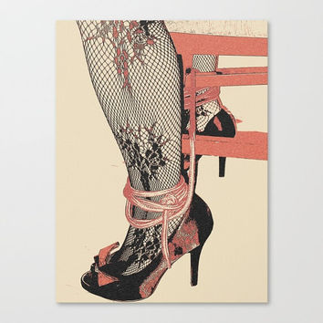 Erotic Art Canvas Print - Dirty bondage posing 5, unique, sexy conte style drawing, ropes and heels sketch sensual high quality artwork