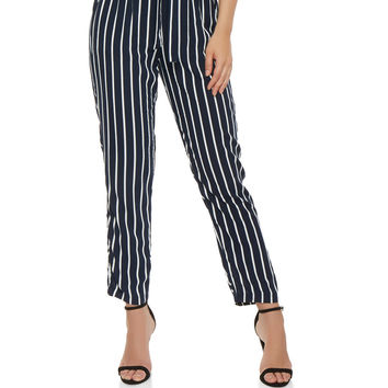 Striped Paper Bag Waist Pants