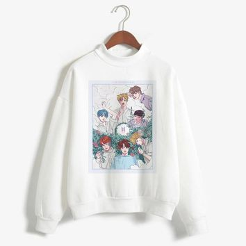 BTS Hoodies Female Bangtan Boys Love Yourself Album Print Army Sweatshirt Women Pullovers Kpop Bts Korean Style Casual Hooded