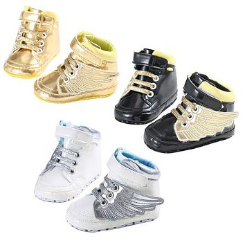 Artificial Baby Boys Girls Shoes Newborn Wings Design Soft Sole Crib Shoes Infant Fashion Sports Sneakers