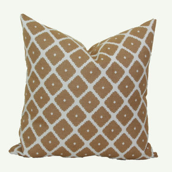 Tan cream jacquard throw pillow cover 18x18 20x20 pillow cover 24x24 pillow cover 26x26 pillow cover Euro sham tan Lumbar pillow 16x26 16x24