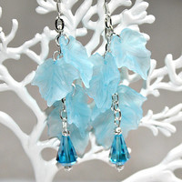 Blue Leaves Earrings - Silver Plated Metal / Frosted Blue Acrylic / Faceted Glass Beads - Dangling / Cascading - Unique Gift - Snow Queen