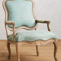 Leather Tirelle Occasional Chair by Anthropologie in Light Denim Size: Chair Furniture