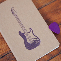 Fender Guitar journal, stratocaster pocket moleskine, rock n' roll notebook