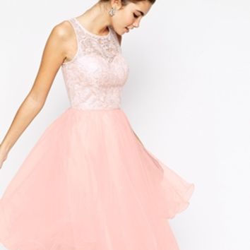 Chi Chi London Applique Bust Midi Debutante Prom Dress With Tulle Skirt