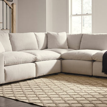 31102-64-77-46-2-08 5 pc Lotus savesto beige linen like fabric feather blend modular sectional sofa