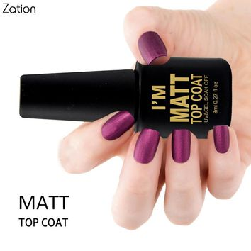 Zation Matte Top Coat Transparent Color 8ml UV Gel Nail Polish Long Lasting Gel Lacquer Matt Top Removable Gel Nail Polish