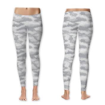 White Camo Women's Athletic Leggings