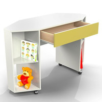 Nexera Taxi Childrens Mobile Corner Desk with Drawer - White and Yellow