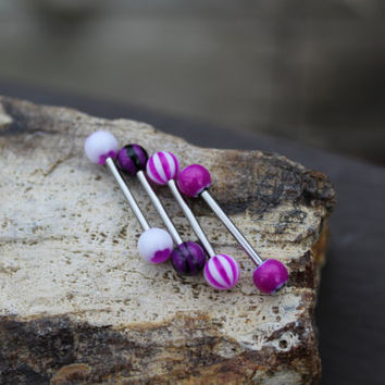 Purple Barbell Tongue Ring SET of 4 - Barbell - Body Jewelry - Tongue Piercing Jewelry - Conch Bar - Replacement Balls