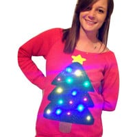 Women's UGLY CHRISTMAS SWEATER - Christmas Tree!!! - Light Up - Swoop Neck / Off The Shoulder Christmas Sweater  _____**Fast Shipping**_____