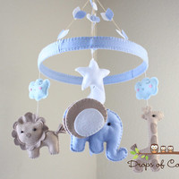 "Baby Crib Mobile - Baby Mobile - Nursery Elephant Giraffe Mobile ""Jungle in the Circle Mobile"" (You can pick your colors)"