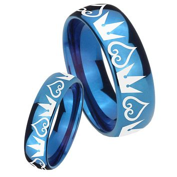 His Hers Mirror Blue Dome Hearts and Crowns Tungsten Carbide Wedding Rings Set