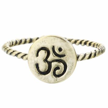 QIMING One Piece Gold Silver Om Ring Yoga Rings Meditation Ring Fashion for women men gift Midi rings