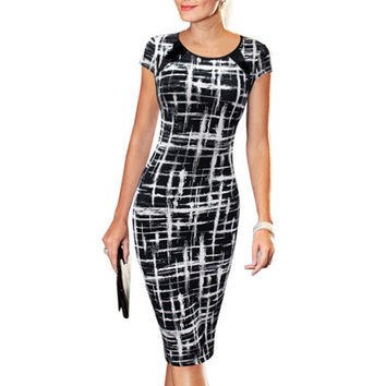 Women's 2016 Spring Summer Printed Synthetic Leather Wear to Work Office Business Casual Pencil Dress vestidos