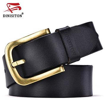 New Fashion Male Belt For Men High Grade Gold Pin Buckle Genuine Leather Belts Strap cincture home
