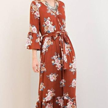 Ramon Bohemian Fall Floral Maxi dress