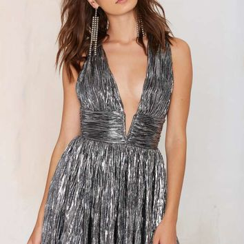 Nasty Gal Gilt Trip Metallic Dress - Silver