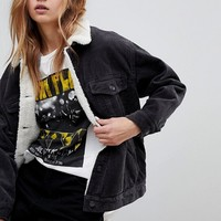 Pull&Bear Cord Shearling Jacket at asos.com