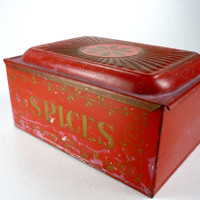 Red Metal Spice Box Toleware Rustic Farmhouse Decor