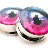 Eyeball Style 4 Picture Plugs gauges - 8g, 6g, 4g, 2g, 0g, 00g, 7/16, 1/2, 9/16, 5/8, 3/4, 7/8, 1 inch