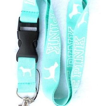 Victorias Secret LOVE PINK Lanyard KeyChain ID Badge Card Holder VS Key Fob Ring